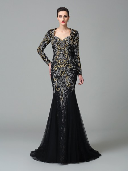 Trumpet/Mermaid Sweetheart Long Sleeves Sweep/Brush Train Net Evening Dress with Beading