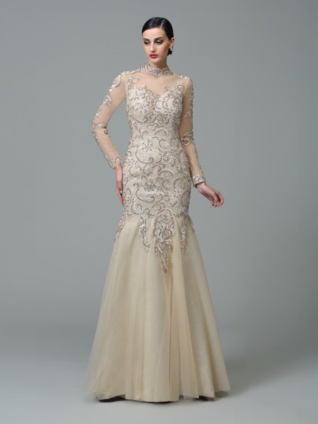Sheath/Column High Neck Long Sleeves Floor-Length Net Evening Dress with Applique
