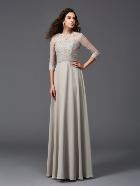 A-Line/Princess Scoop 3/4 Sleeves Chiffon Floor-Length Evening Dress with Applique