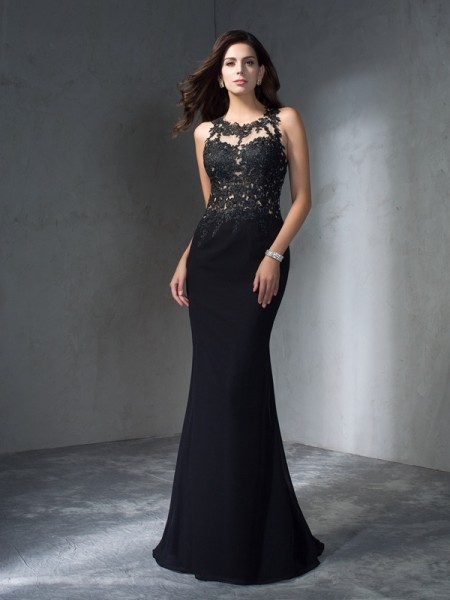 Trumpet/Mermaid Scoop Sleeveless Sweep/Brush Train Chiffon Prom Dress with Applique