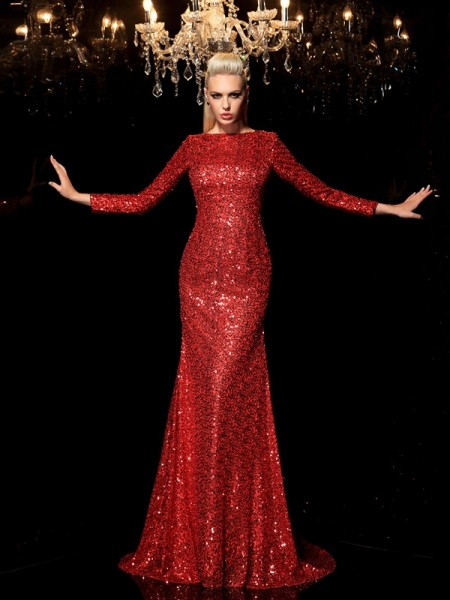 Sheath/Column Scoop Long Sleeves Sweep/Brush Train Sequins Evening Dress with Sequin