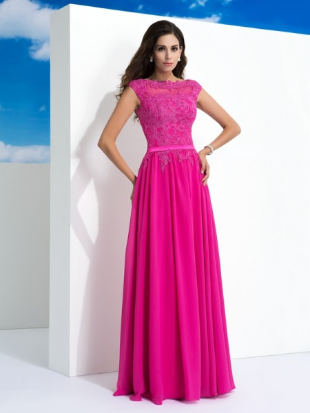 A-Line/Princess Sheer Neck Sleeveless Floor-Length Chiffon Evening Dress with Lace