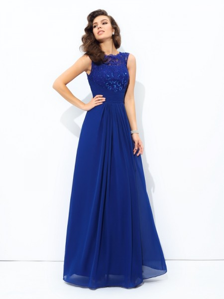 A-Line/Princess Sleeveless Scoop Floor-length Chiffon Evening Dress with Lace