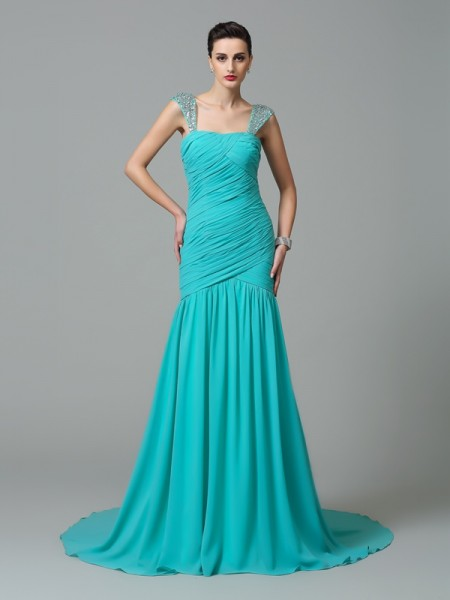A-Line/Princess Straps Sleeveless Court Train Chiffon Evening Dress with Ruched