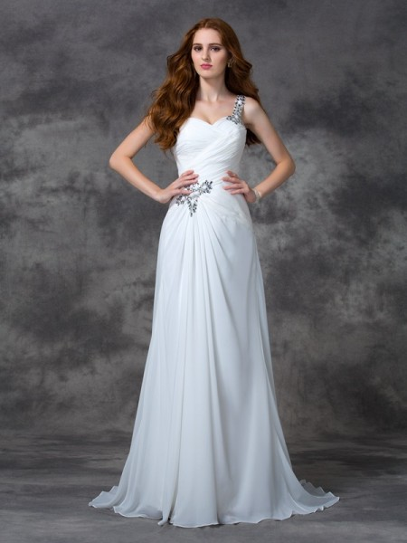 A-line/Princess One-Shoulder Sleeveless Sweep/Brush Train Chiffon Evening Dress with Beading