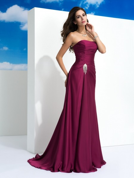 A-Line/Princess Strapless Sleeveless Sweep/Brush Train Satin Chiffon Evening Dress with Pleats