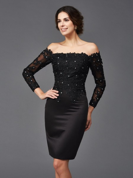 Sheath/Column Long Sleeves Off-the-Shoulder Knee-Length Satin Mother Of The Bride Dress with Lace