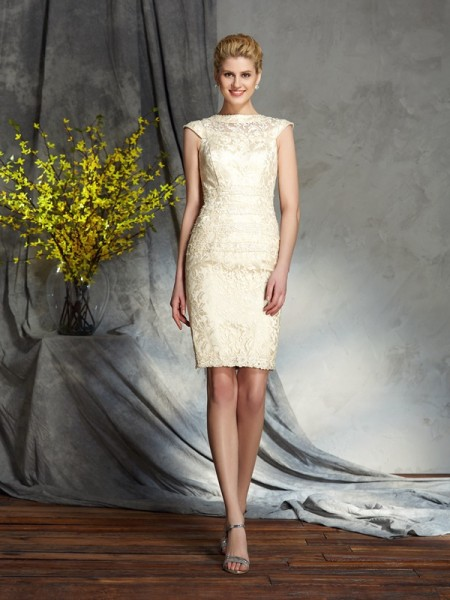 Sheath/Column Bateau Short Sleeves Elastic Woven Satin Short/Mini Mother Of The Bride Dress