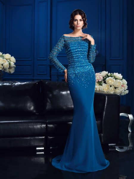 Sheath/Column Off-the-Shoulder Long Sleeves Sweep/Brush Train Chiffon Mother Of The Bride Dress with Beading