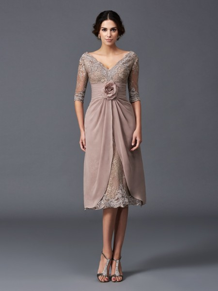 A-Line/Princess V-neck 1/2 Sleeves Tea-Length Mother Of The Bride Dress with Hand-Made Flower  with Lace