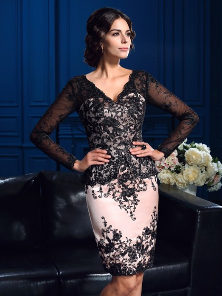 Sheath/Column V-neck Long Sleeves Short/Mini Mother Of The Bride Dress with Lace Applique