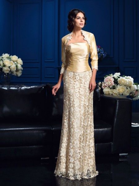 A-Line/Princess Strapless Sleeveless Floor-Length Mother Of The Bride Dress with Lace