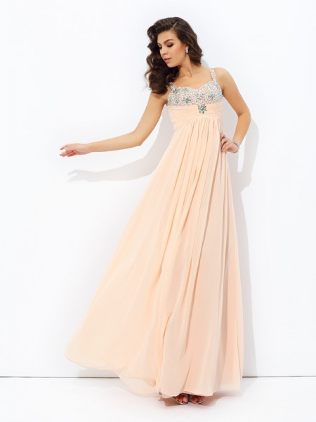A-Line/Princess Spaghetti Strap Sleeveless Chiffon Floor-Length Prom Dress with Beading