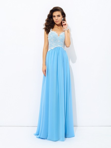 A-Line/Princess V-neck Sleeveless Floor-length Chiffon Prom Dress with Lace