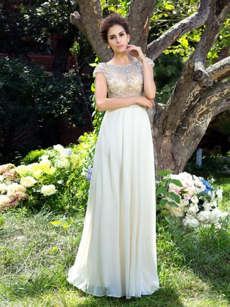 A-Line/Princess Short Sleeves Sheer Neck Chiffon Sweep/Brush Train Prom Dress with Rhinestone