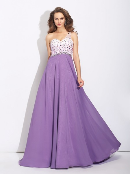 A-Line/Princess One-Shoulder Sleeveless Sweep/Brush Train Chiffon Prom Dress with Crystal
