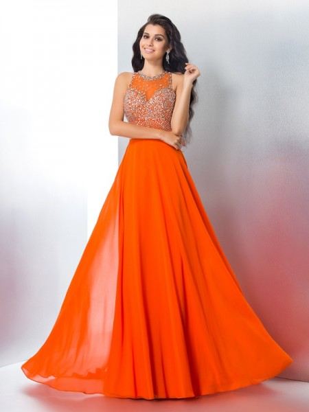 A-Line/Princess Scoop Chiffon Sweep/Brush Train Prom Dress with Beading