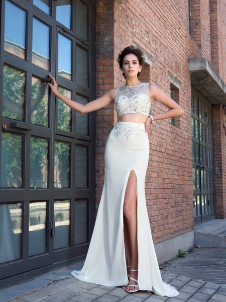 Sheath/Column High Neck Sleeveless Sweep/Brush Train Chiffon Two Piece Prom Dress with Crystal
