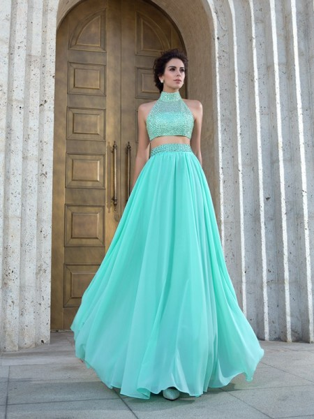 A-Line/Princess Sleeveless High Neck Chiffon Floor-Length Two Piece Prom Dress with Beading