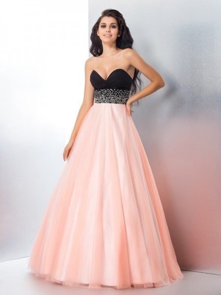 Ball Gown Sweetheart Sleeveless Satin Floor-Length Prom Dress with Beading