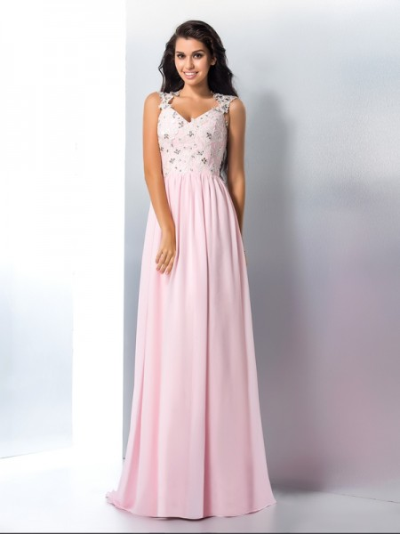 A-Line/Princess V-neck Sleeveless Chiffon Sweep/Brush Train Prom Dress with Applique