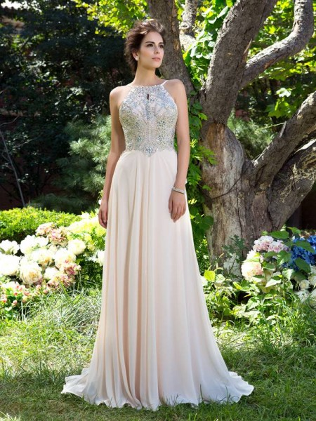 A-line/Princess Spaghetti Straps Sleeveless Sweep/Brush Train Chiffon Prom Dress with Beading