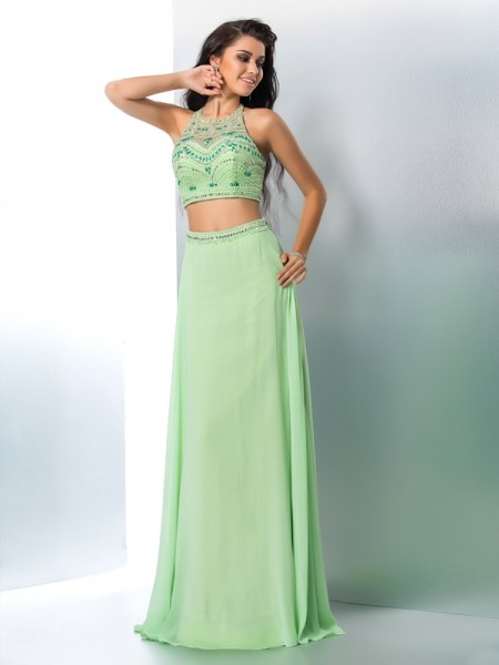 A-Line/Princess Halter Sleeveless Chiffon Floor-Length Two Piece Prom Dress with Beading