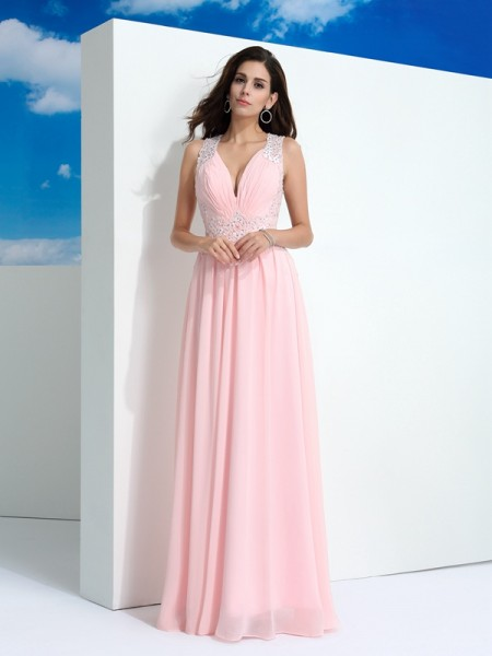 A-Line/Princess Straps Sleeveless Chiffon Long Prom Dress with Beading