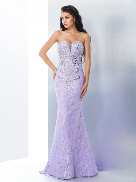 Trumpet/Mermaid Sweetheart Sleeveless Sweep/Brush Train Prom Dress with Lace with Beading