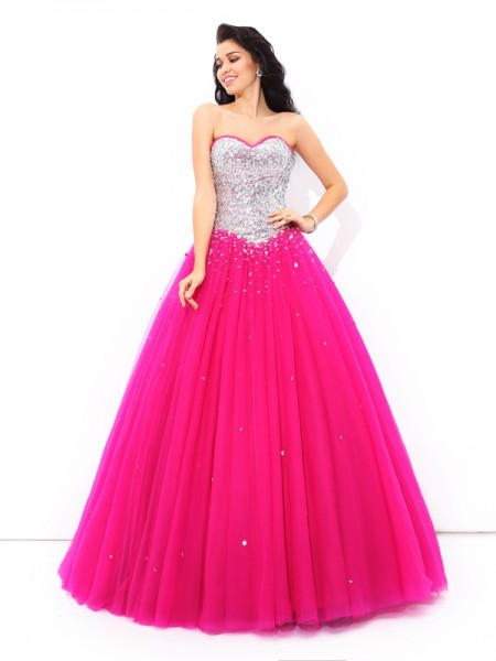 Ball Gown Sweetheart Floor-Length Satin Quinceanera Dress with Beading