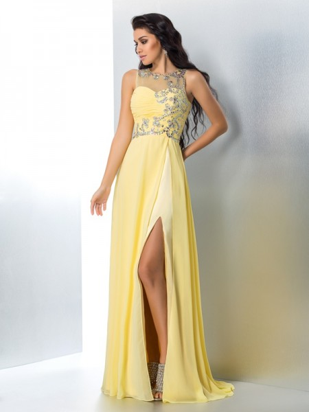 A-Line Sheer Neck Sleeveless Chiffon Sweep/Brush Train Prom Dress with Beading