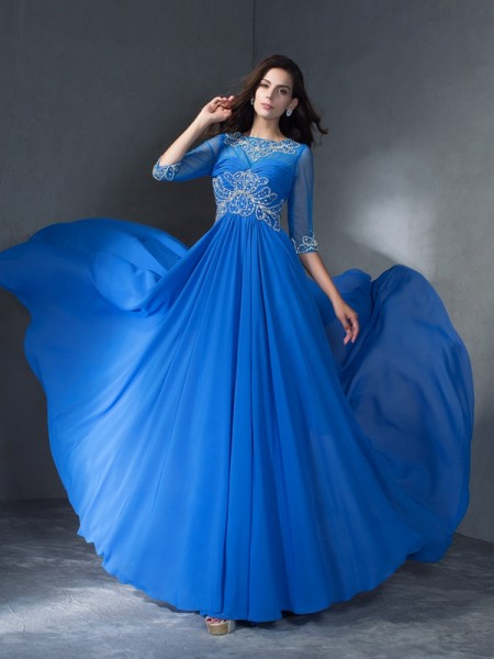 A-Line/Princess Scoop 1/2 Sleeves Sweep/Brush Train Chiffon Prom Dress with Beading