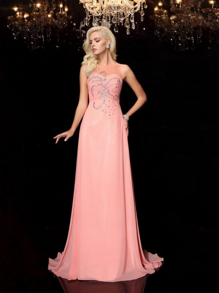 A-line Scoop Floor-Length Chiffon Prom Dress with Beading