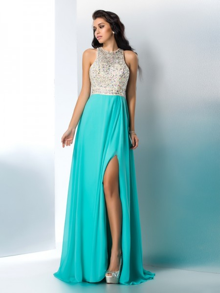 A-Line Scoop Sleeveless Chiffon Floor-Length Prom Dress with Beading