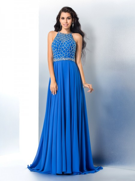 Princess Scoop Sleeveless Chiffon Sweep/Brush Train Prom Dress with Beading