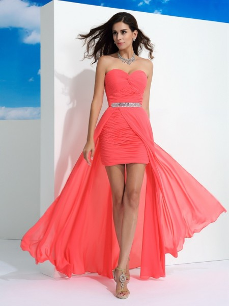 Sheath/Column Sweetheart Sleeveless Floor-Length Chiffon Prom Dress with Pleats