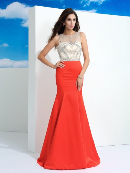 Trumpet/Mermaid Sheer Neck Sleeveless Floor-Length Satin Prom Dress with Beading