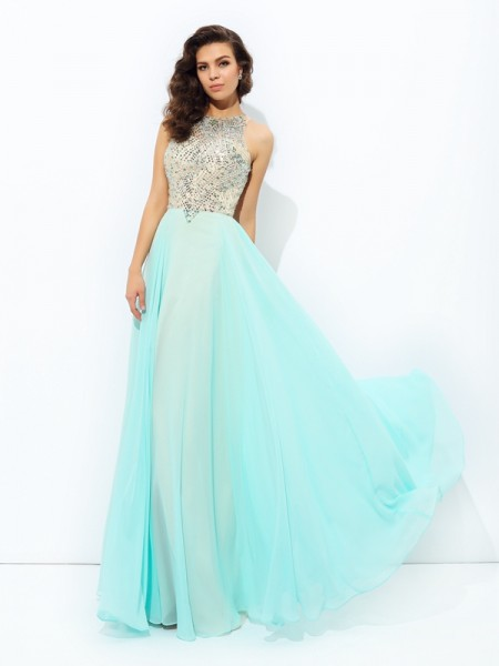 A-Line/Princess Jewel Floor-Length Chiffon Prom Dress with Beading