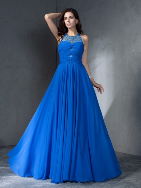 A-Line/Princess Scoop Sleeveless Sweep/Brush Train Chiffon Prom Dress with Beading