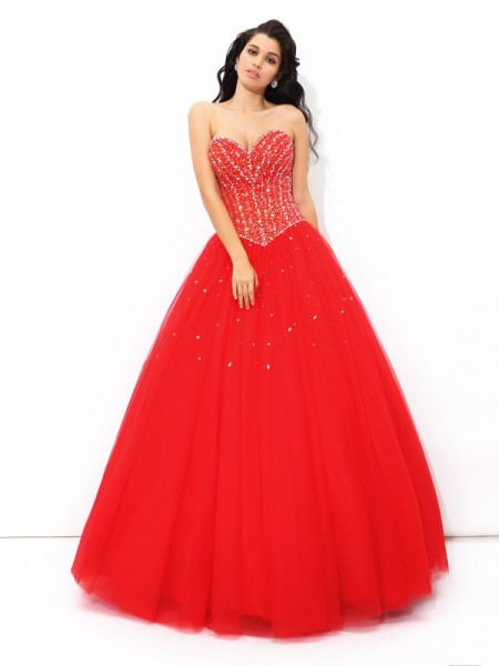 Ball Gown Floor-Length Net Quinceanera Dress with Beading
