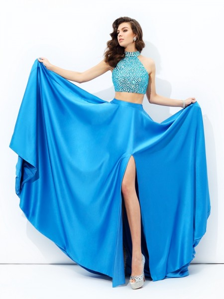 A-Line/Princess High Neck Sleeveless Court Train Satin Prom Dress with Beading