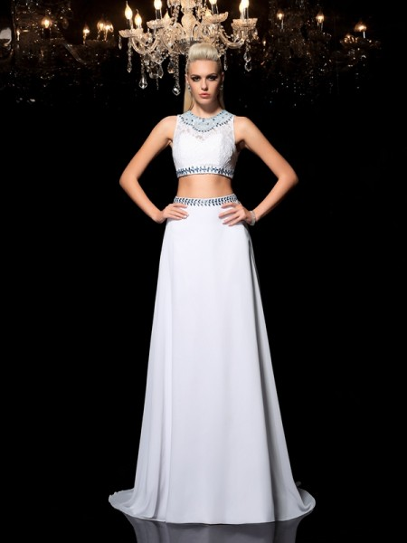A-Line/Princess Jewel Sleeveless Floor-Length Chiffon Two Piece Prom Dress with Beading