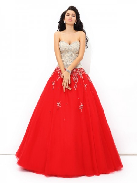 Ball Gown Sweetheart Sleeveless Floor-Length Satin Quinceanera Dress with Beading