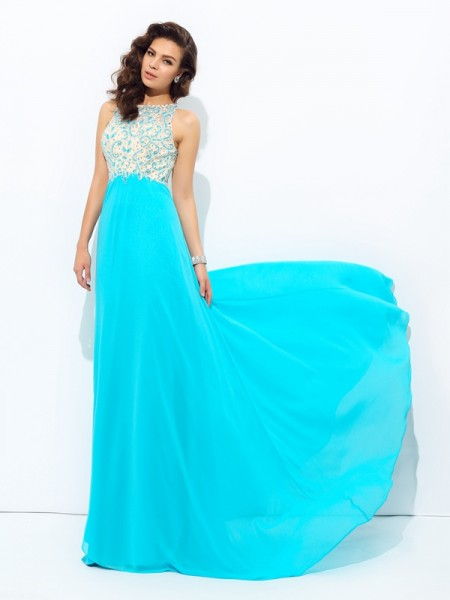 A-Line/Princess Scoop Chiffon Sleeveless Floor-Length Prom Dress with Beading