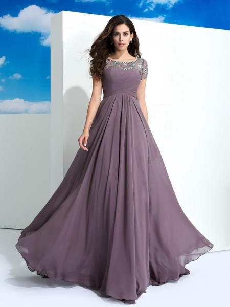 A-Line/Princess Sheer Neck Short Sleeves Floor-Length Chiffon Prom Dress with Beading