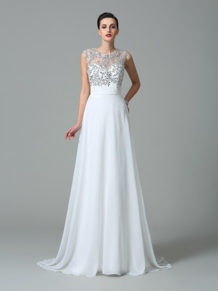 A-Line/Princess Jewel Sleeveless Sweep/Brush Train Chiffon Prom Dress with Beading