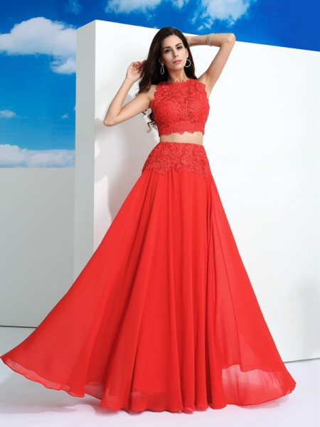 A-Line/Princess Scoop Sleeveless Floor-Length Chiffon Prom Dress with Lace