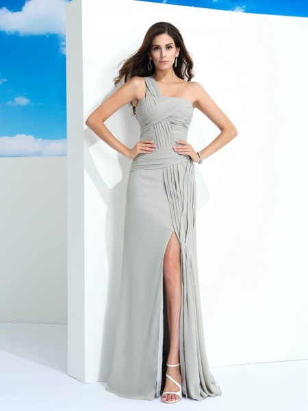 Sheath/Column One-Shoulder Sleeveless Floor-Length Chiffon Prom Dress with Pleats