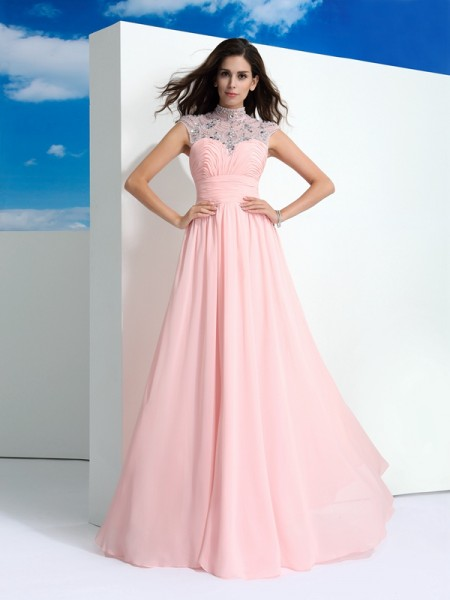 A-Line/Princess Sheer Neck Sleeveless Floor-Length Chiffon Prom Dress with Beading