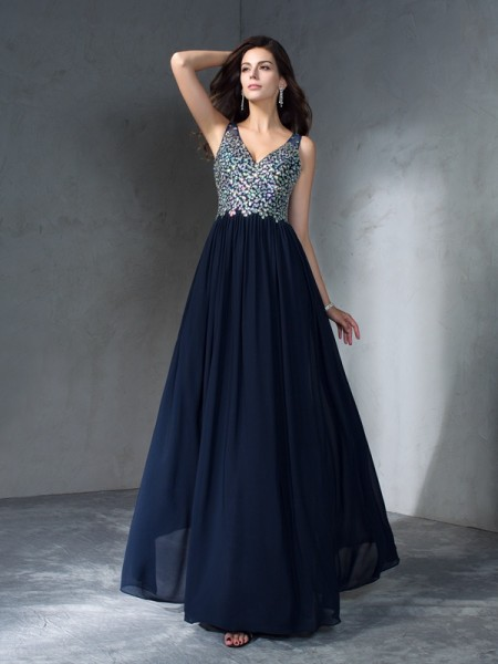 A-Line/Princess V-neck Sleeveless Floor-Length Chiffon Prom Dress with Beading